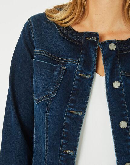 Jeansjacke mit geflochtenem Kragen Uma (3) - 1-2-3