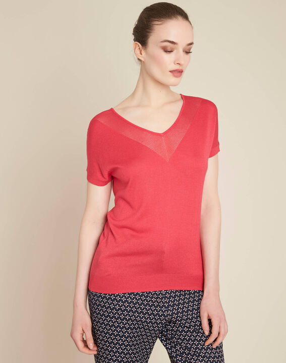 Never pale fuchsia, fine-knit sweater with openwork neckline (3) - 1-2-3