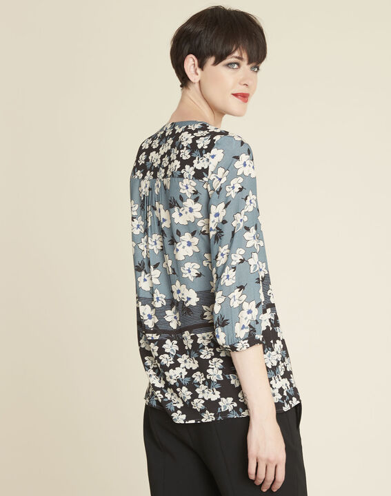 Clap navy blue blouse with floral print (4) - 1-2-3