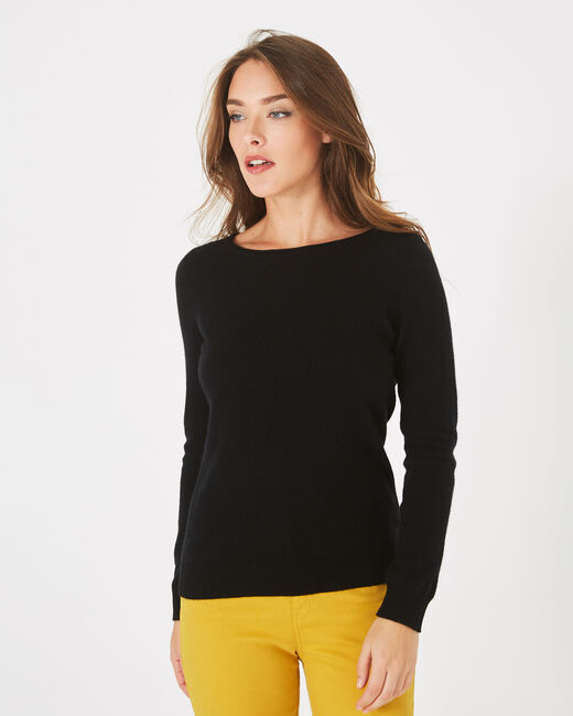 Petunia black cashmere sweater with round neck (1) - 1-2-3
