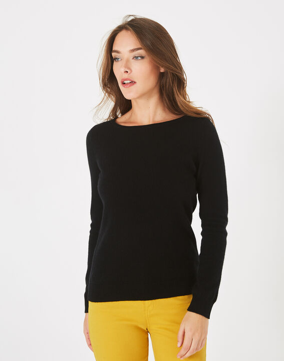 Pull noir col rond cachemire Petunia (2) - 1-2-3