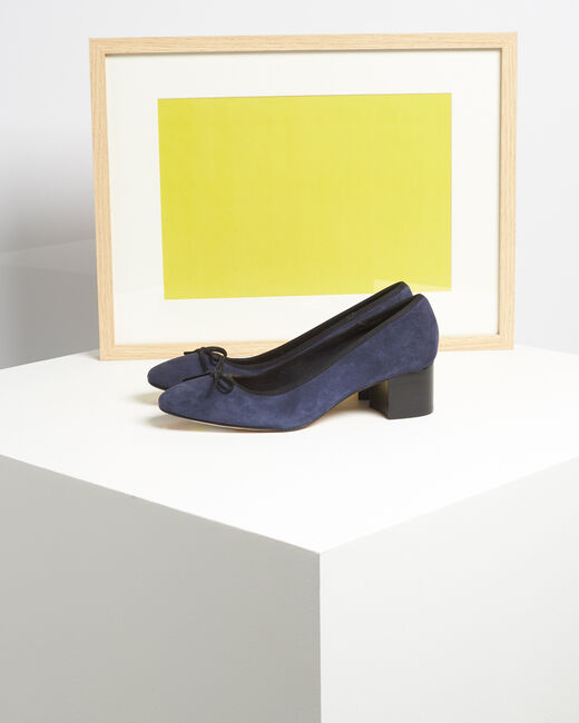 Kalista navy velvet-effect shoes with square heels (2) - 1-2-3