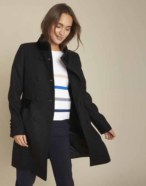 Manteau en laine détails velours Jasmin PhotoZ   1-2-3