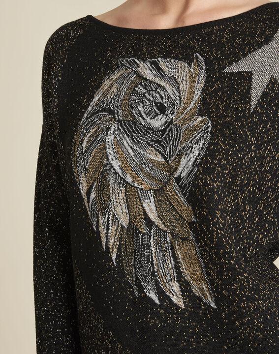 Schwarzer Pullover mit Strass und Eulenmotiv Bibou (3) - Maison 123
