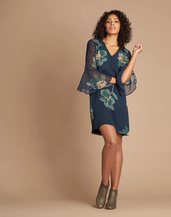 Waldgrünes Kleid mit Blumen-Print Astrid (2) - 1-2-3