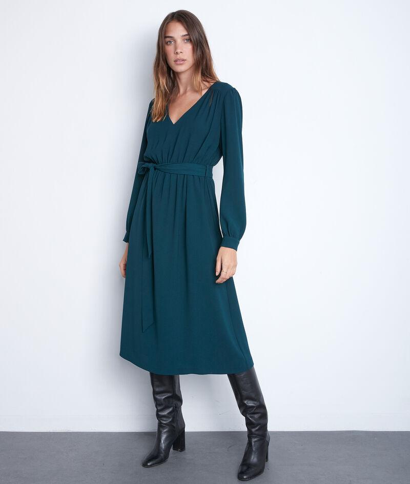 Robe midi en crêpe vert paon Star PhotoZ | 1-2-3