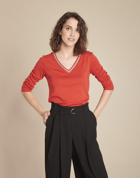 Tee-shirt orange encolure V fantaisie Calypso PhotoZ | 1-2-3