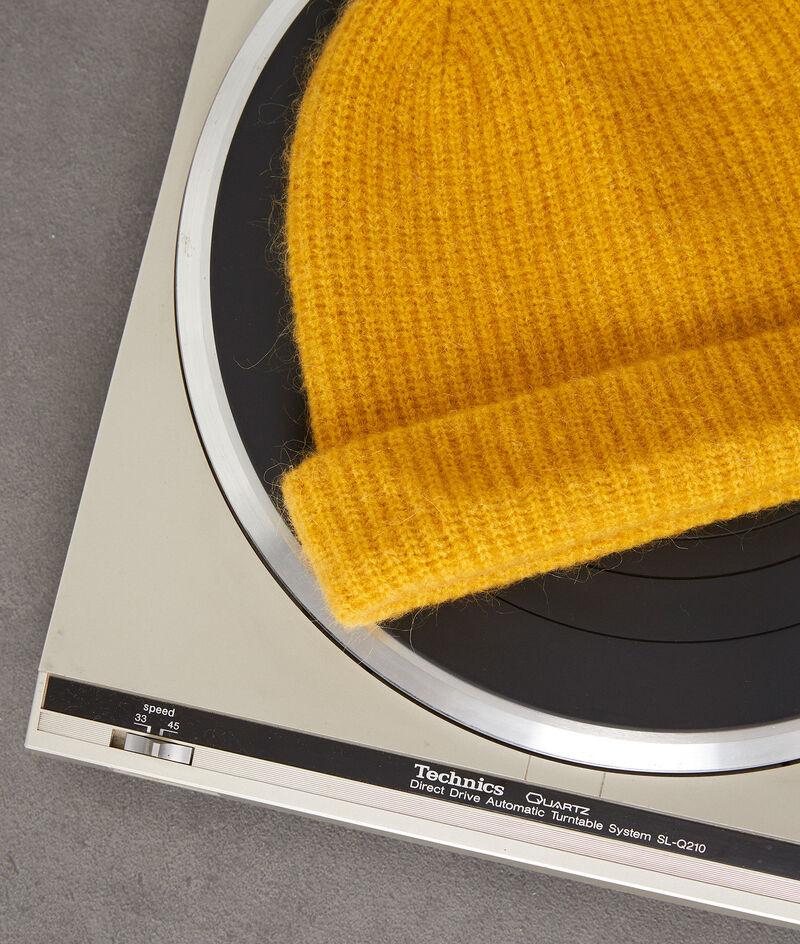 Bonnet doux en laine et mohair jaune Irene PhotoZ | 1-2-3