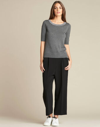 Nath grey cotton sweater with short sleeves mid chine.