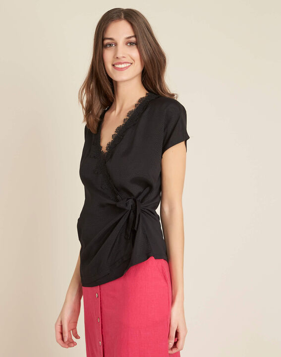 Gretta black shirt with cross-over neckline in lace (3) - 1-2-3