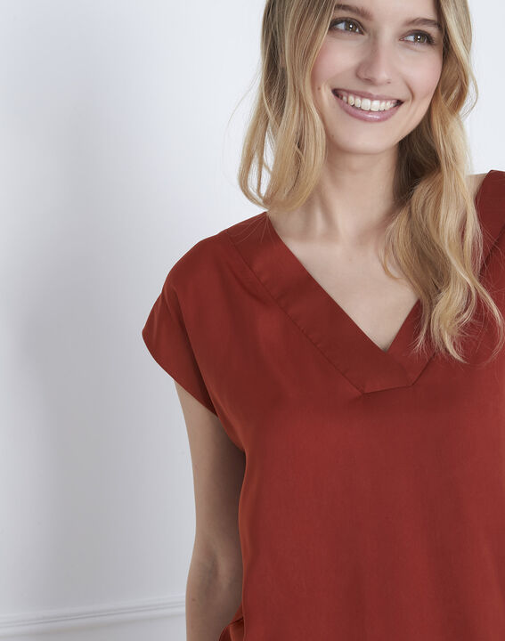 Mahagonifarbenes T-Shirt aus Bimaterial Prune (3) - Maison 123