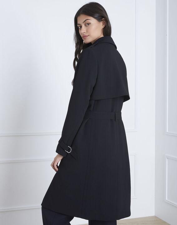 Langer schwarzer Mantel mit Reverskragen Klara (4) - 1-2-3