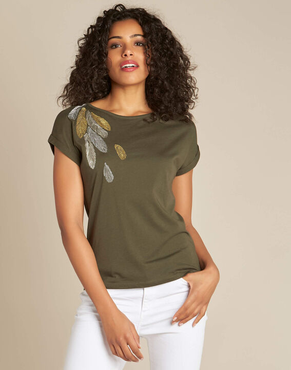Epine khaki T-shirt with feather embroidery (3) - 1-2-3