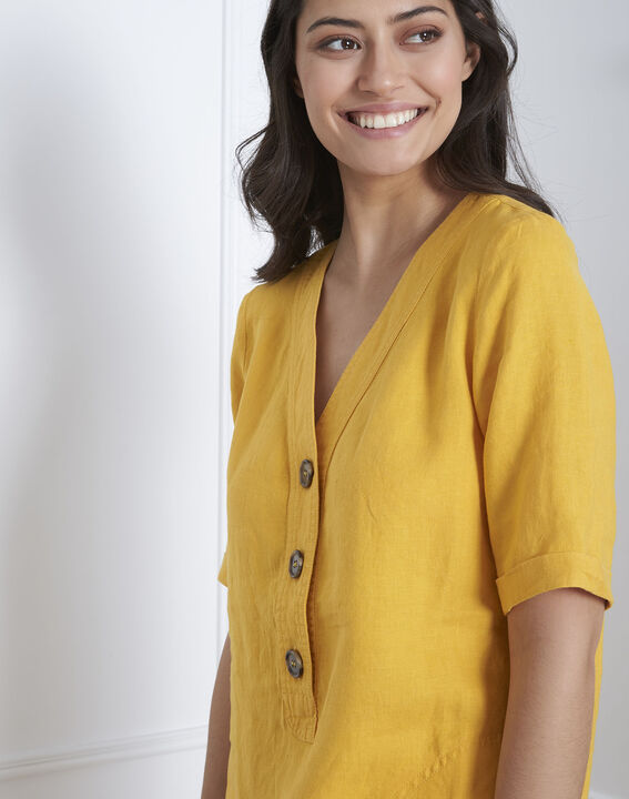 Robe jaune en lin Loanne (3) - Maison 123
