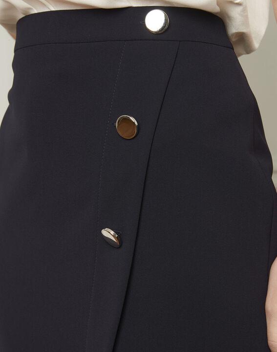 Jupe marine portefeuille à boutons microfibre Sabine (4) - Maison 123
