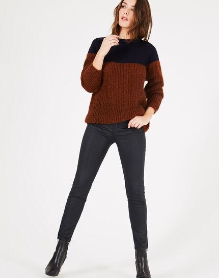 Zweifarbiger Pullover aus Alpaka und Kaschmir Praline (3) - 1-2-3
