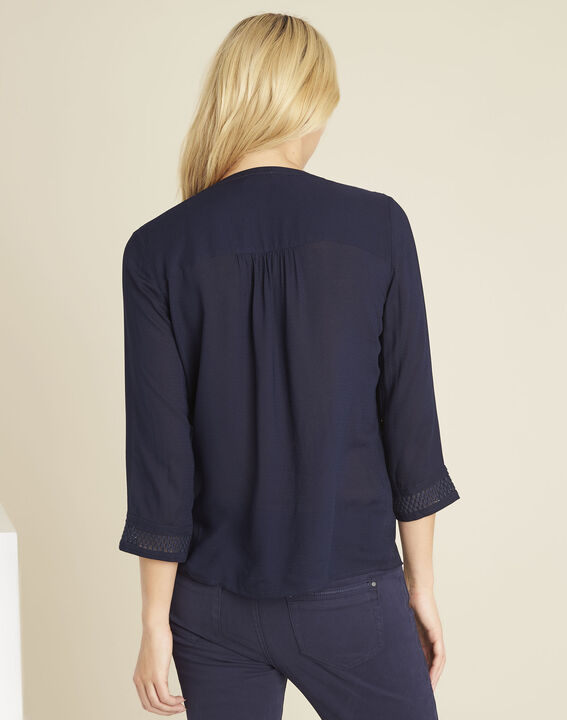 Cassandra navy blue blouse with lace insert (4) - 1-2-3