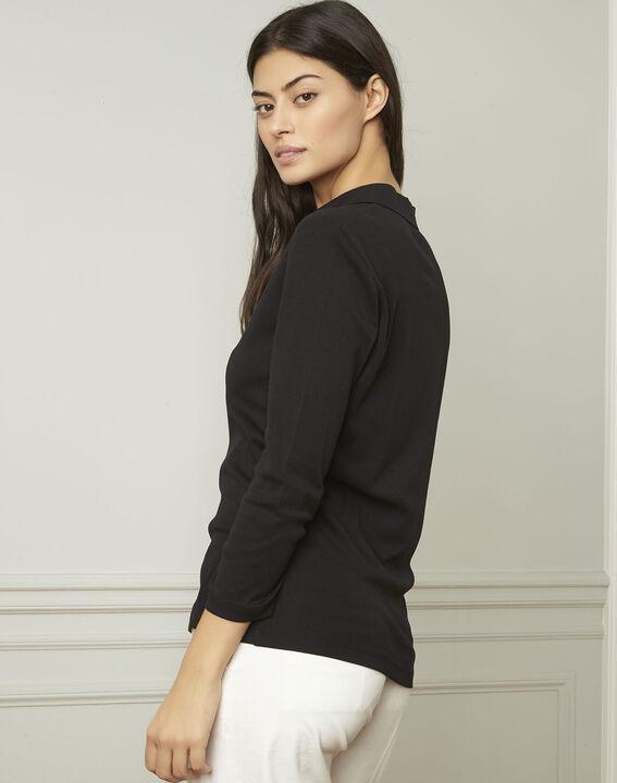 Schwarzes T-Shirt mit V-Ausschnitt aus Lurex Primerose (3) - Maison 123