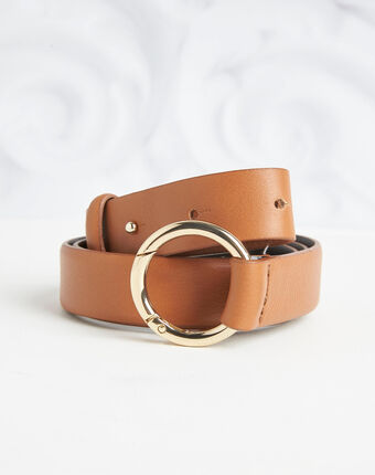 Romie camel belt with ring in leather light camel.
