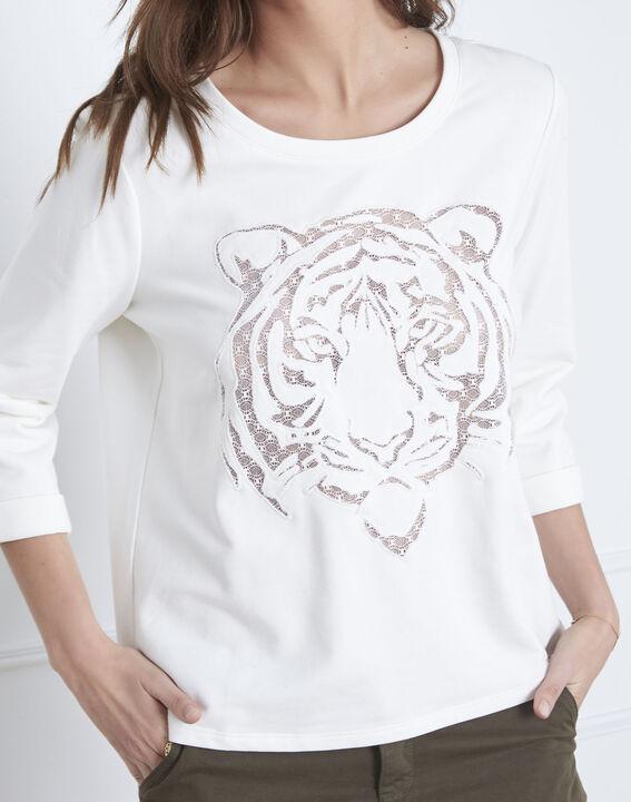 Naturfarbenes Sweatshirt Tigerkopf Transparenz Pondichéry (3) - Maison 123