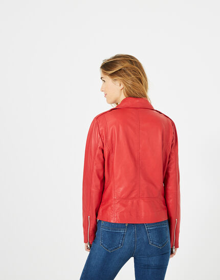 Blouson en cuir rouge Hanna (5) - 1-2-3