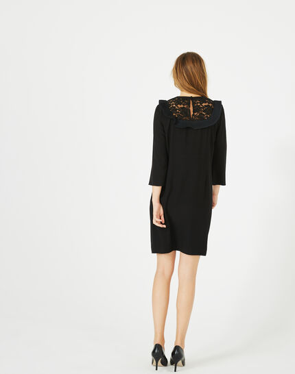 Robe noire décolleté dentelle Aster (4) - 1-2-3