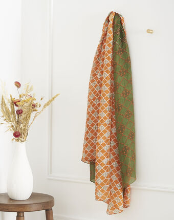 Foulard orange imprimé en soie odace orange.