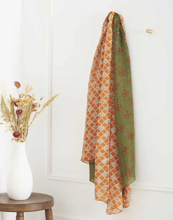 Foulard orange imprimé en soie Odace PhotoZ | 1-2-3