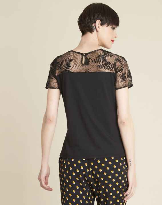 Glamour black T-Shirt with lace at the neckline (4) - 1-2-3