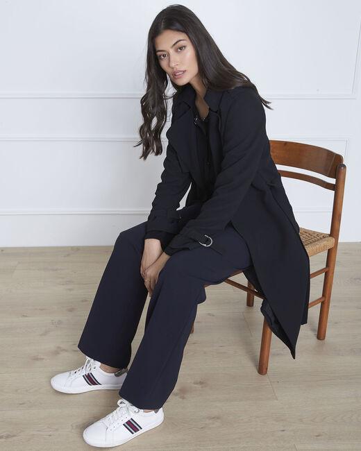 Langer schwarzer Mantel mit Reverskragen Klara (1) - 1-2-3