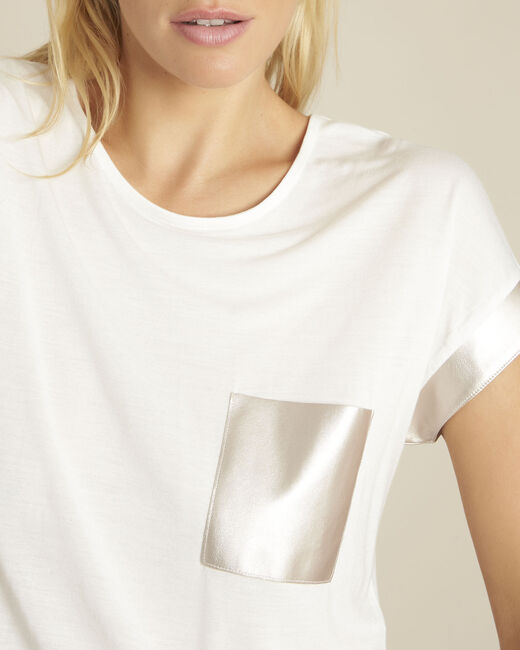 Gimini white t-shirt with faux leather panel (2) - 1-2-3