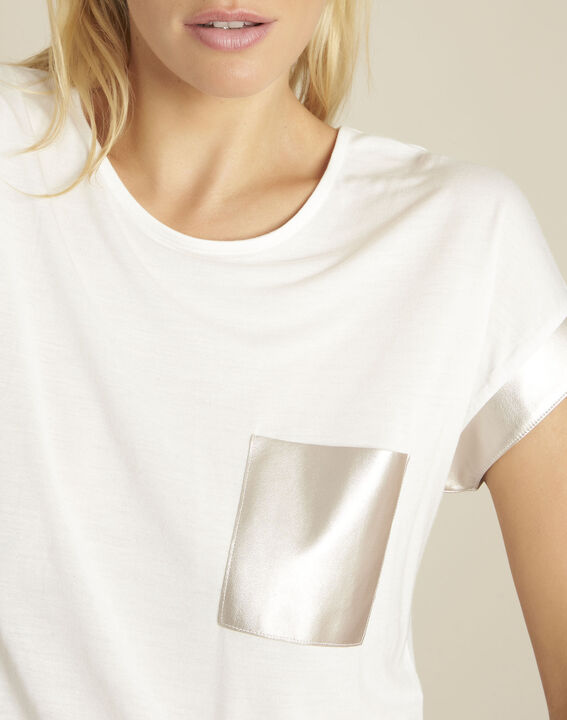 Tee-shirt blanc empiècement faux cuir Gimini (3) - 1-2-3