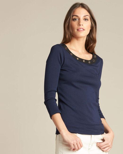 Tee-shirt marine encolure à oeillets Basic (2) - 1-2-3