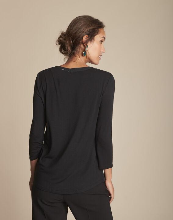 Zwarte blouse uit twee materialen Genna (4) - Maison 123