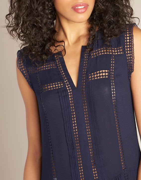 Fließendes marineblaues Kleid mit Ajour-Details Playa PhotoZ | 1-2-3