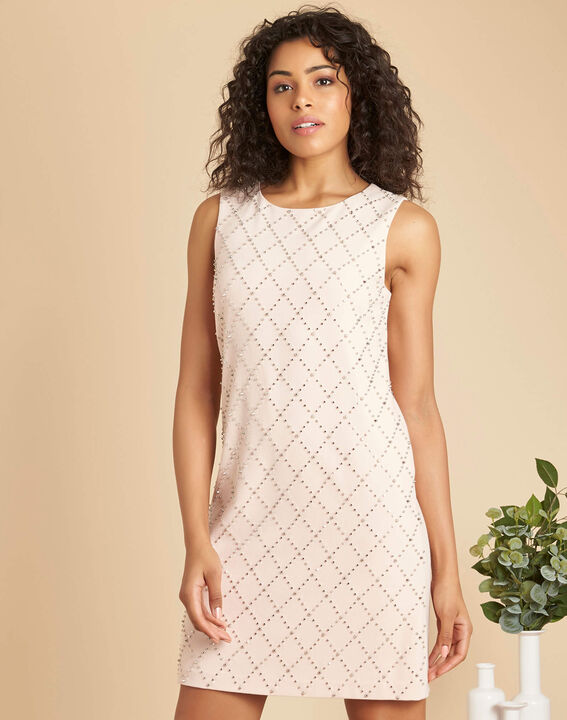 Robe rose pale brodée clous Isaure (3) - 1-2-3