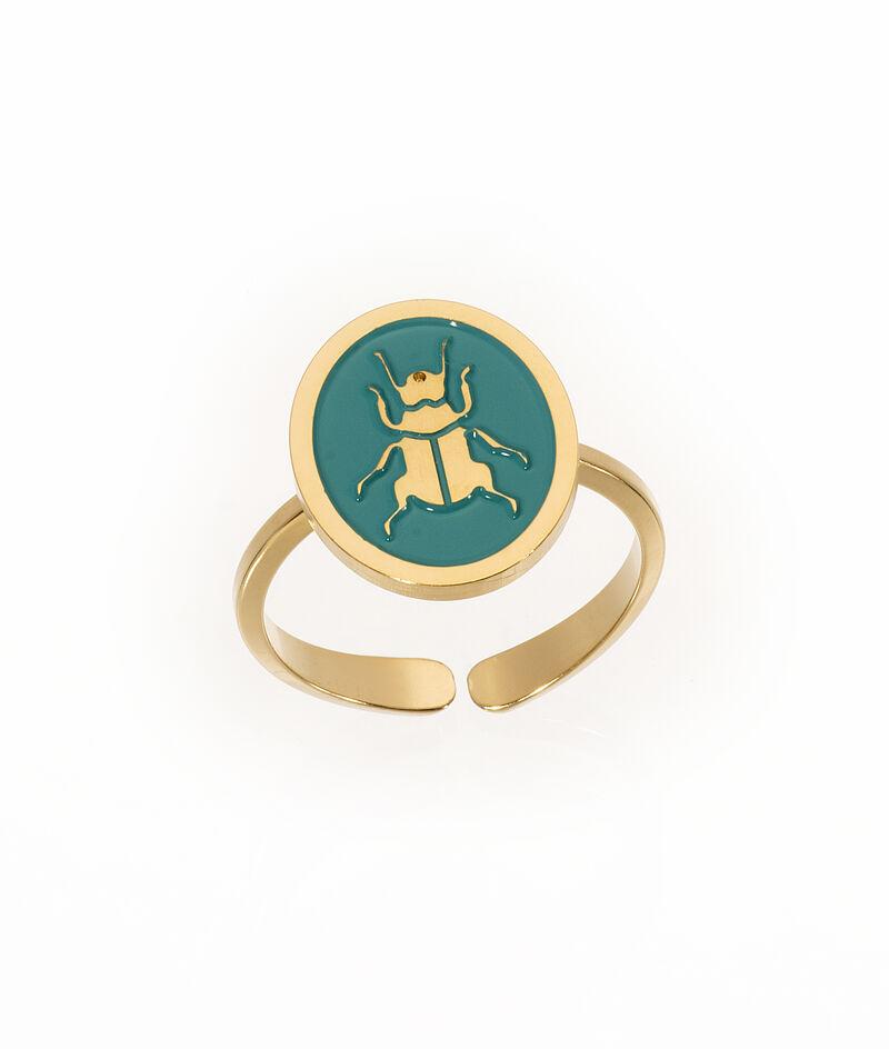 Bague médaille scarabée turquoise Bijoux Léone PhotoZ | 1-2-3