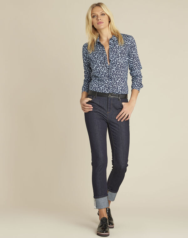 Blauw overhemd met bladerenprint Ravel (1) - 37653