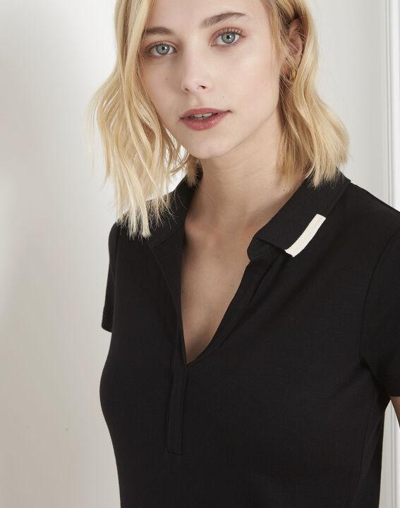 Tee-shirt noir encolure polo Prudence (3) - Maison 123