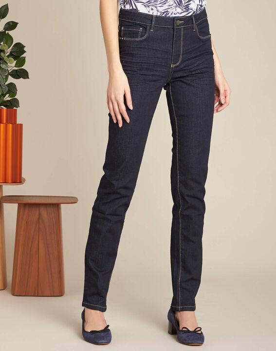 Marineblaue gerade Jeans normale Leibhöhe Vivienne (3) - 1-2-3