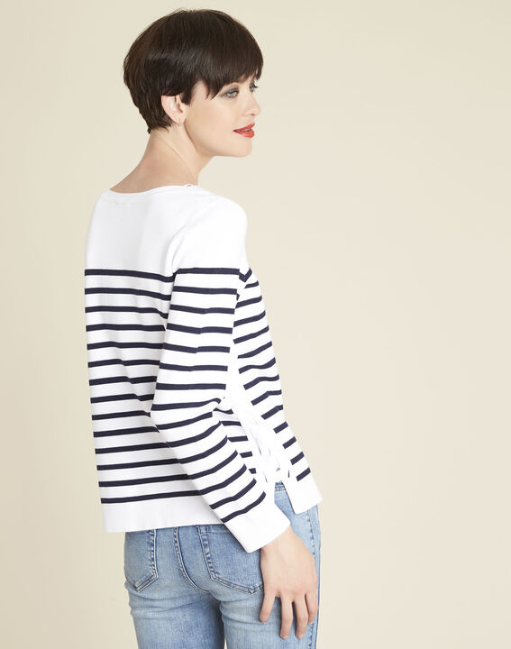 Boat white striped sweater with lacing on the side (4) - 1-2-3