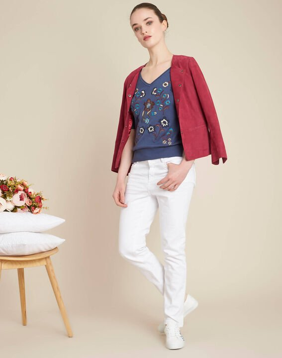Blauer Pullover mit Blumenprint Nouette (2) - 1-2-3