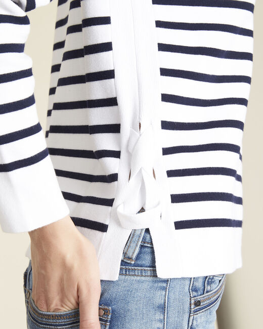 Boat white striped sweater with lacing on the side (1) - 1-2-3