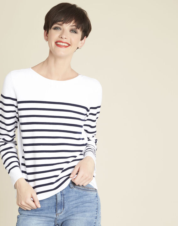 Boat white striped sweater with lacing on the side (1) - Maison 123