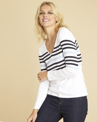 Tee-shirt blanc rayé encolure v gayure blanc.