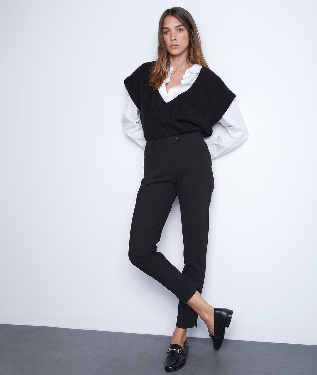 Mouwloze trui met zwart vlechtwerk Teresa PhotoZ | 1-2-3