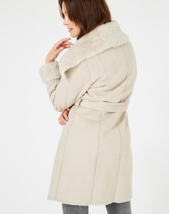 Lina mid-length sheepskin coat string.