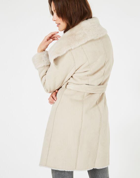 Manteau ficelle mi-long en peau lainée Lina (2) - 1-2-3