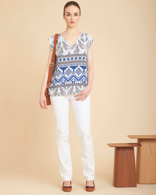 Miledine printed flowing blue top (2) - 1-2-3