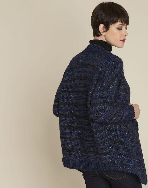 Gilet bleu rayé laine mélangée Back (4) - 1-2-3
